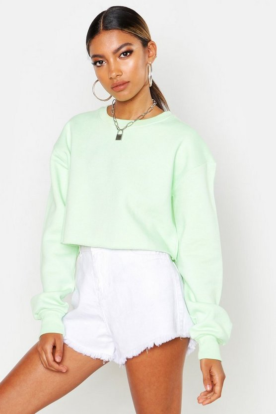 Womens Ice lime Crew Neck Cropped Sweat