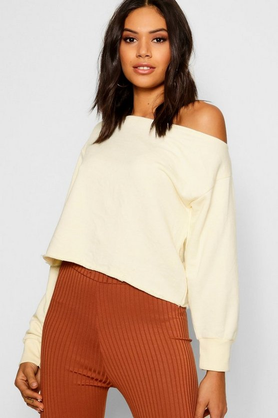 Womens Ecru Raw Edge Off The Shoulder Sweat