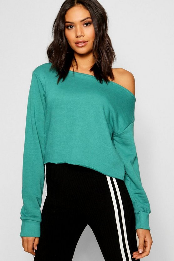 Womens Teal Raw Edge Off The Shoulder Sweat