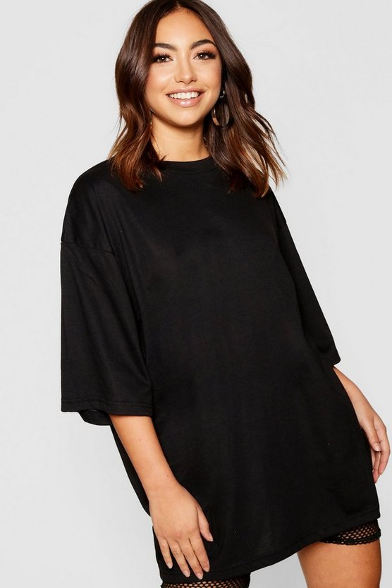 Womens Black Oversized Cotton T Shirt
