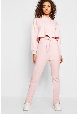 Womens Pale pink Ruffle Edge Hoody & Jogger Co-ord