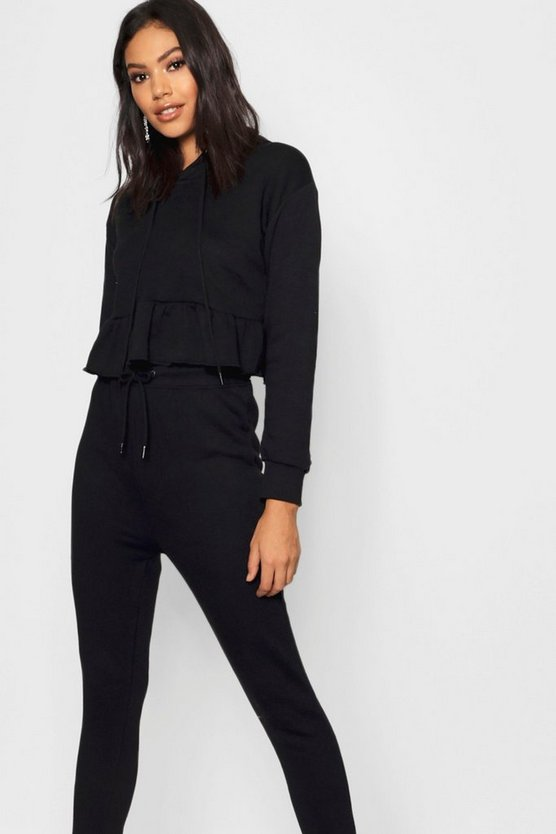Ruffle Edge Hoody & Jogger Co-ord, Black, Donna