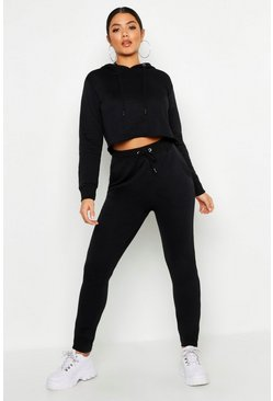 Womens Black Hooded Raw Edge Sweat & Jogger Set