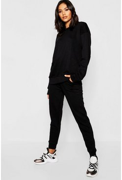 Womens Black Basic Sweat Joggers Co-ord