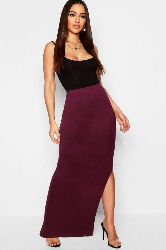 Side Split Jersey Midaxi Skirt