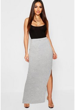 Womens Grey marl Side Split Jersey Midaxi Skirt
