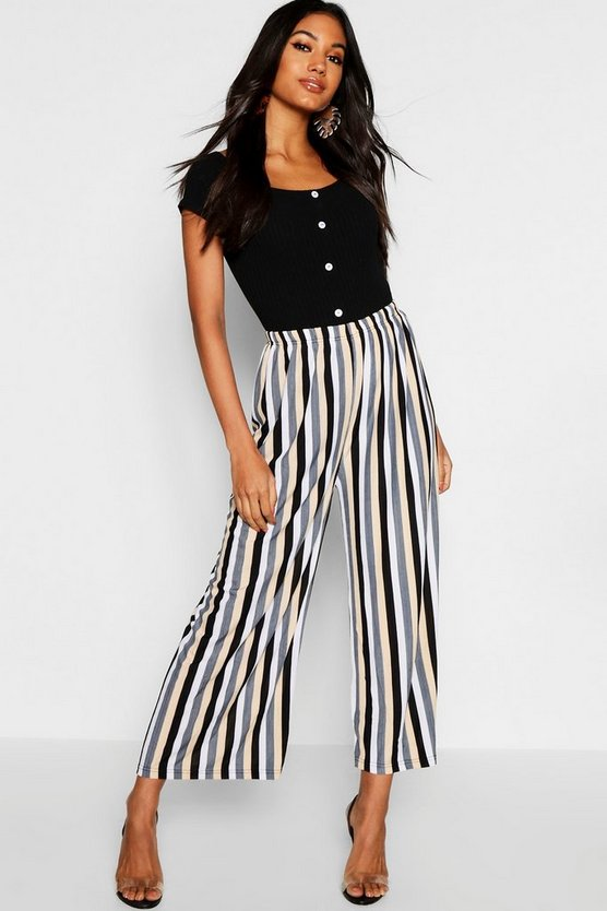 Tonal Plisse Stripe Culottes by Boohoo