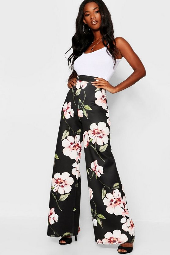 Large Floral Wide Leg Trousers