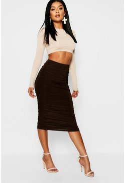 Womens Chocolate Rouched Side Slinky Midi Skirt