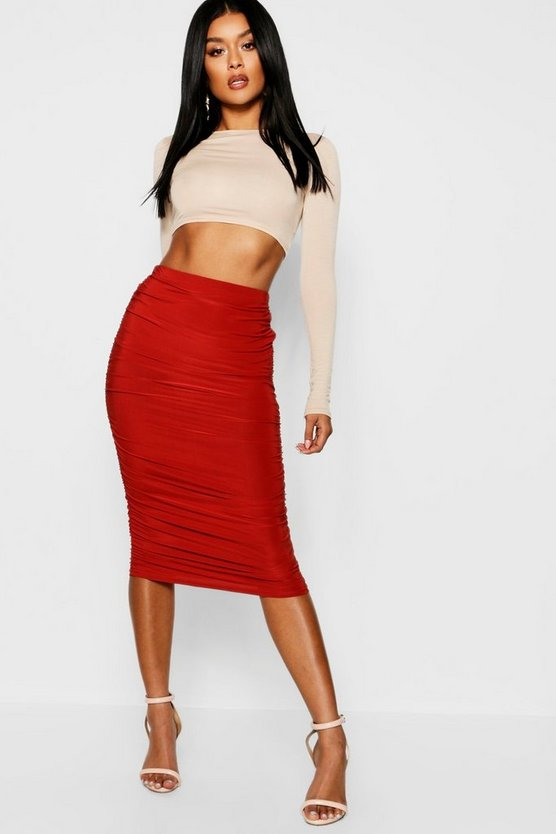 Womens Rust Rouched Side Slinky Midi Skirt
