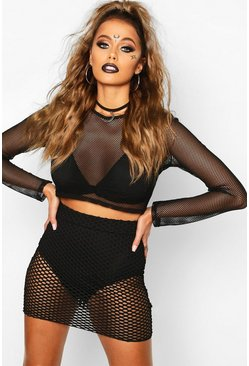 Womens Black Halloween Fishnet Mini Skirt