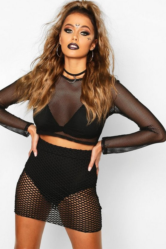 Halloween Fishnet Mini Skirt, Black, MUJER