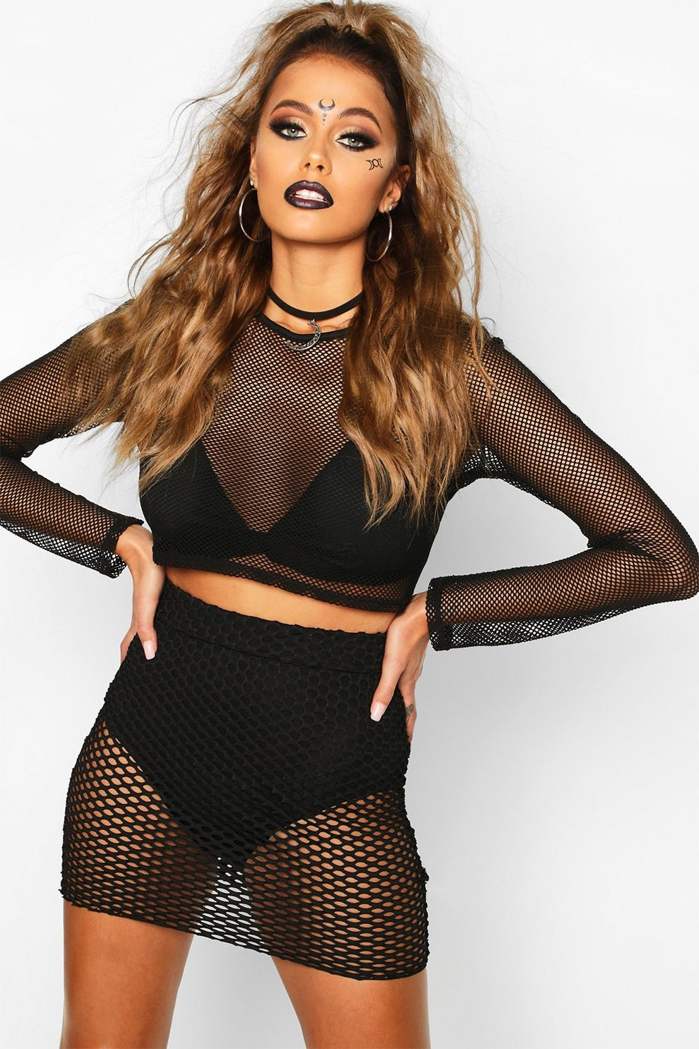 ec0fc53839db Halloween Fishnet Mini Skirt | Boohoo