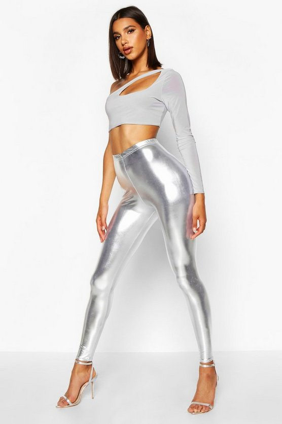 Womens Silver Metallic Leggings