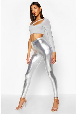 Metallic Leggings, Silver