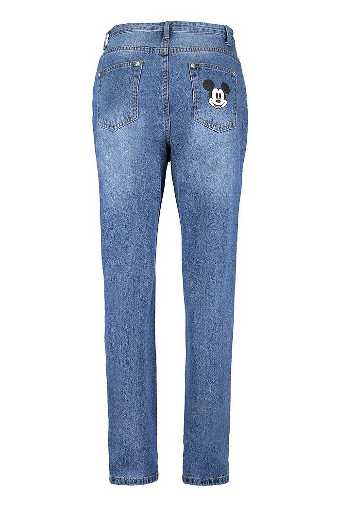 Disney Mickey Graphic Mom Jeans | Boohoo UK