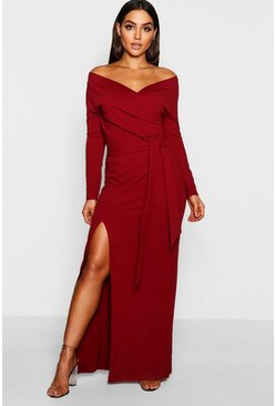 Berry Off The Shoulder Wrap Thigh Split Maxi Dress
