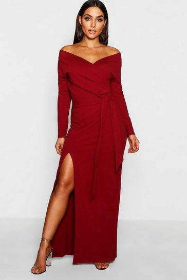 Berry Off The Shoulder Split Maxi Bridesmaid Dress