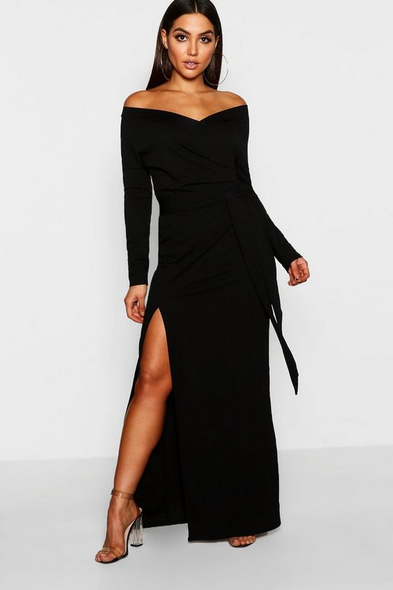Womens Black Off The Shoulder Wrap Thigh Split Maxi Dress