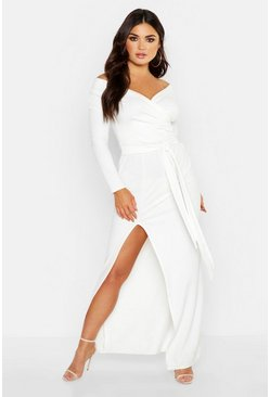 Ivory Off The Shoulder Wrap Thigh Split Maxi Dress