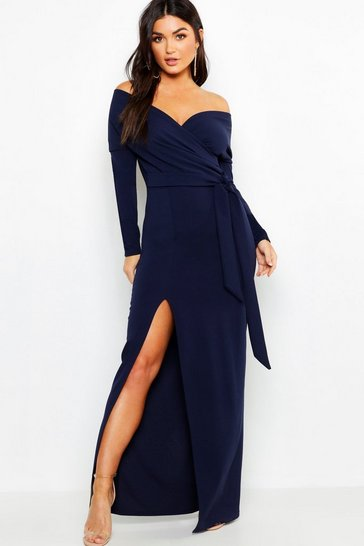 Womens Navy Off The Shoulder Wrap Thigh Split Maxi Dress