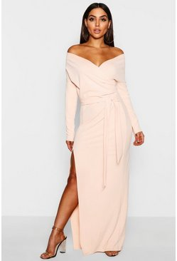 Womens Nude Off The Shoulder Wrap Thigh Split Maxi Dress
