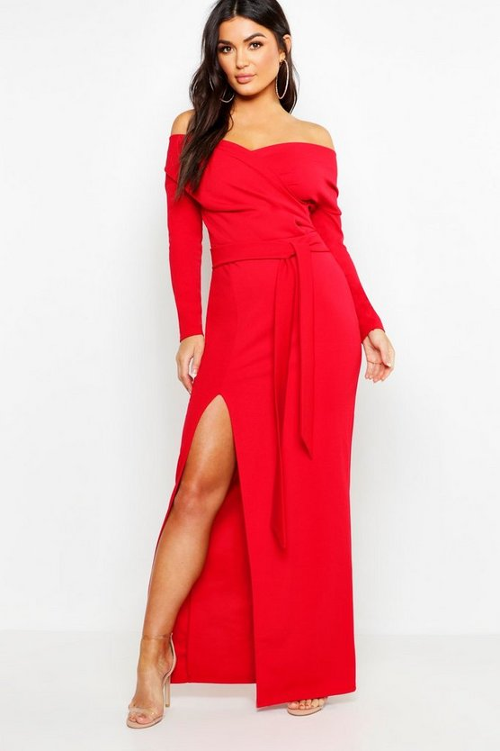 Womens Red Off The Shoulder Wrap Thigh Split Maxi Dress