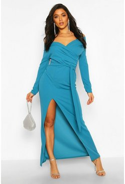 Teal Off The Shoulder Split Maxi Bridesmaid Dress