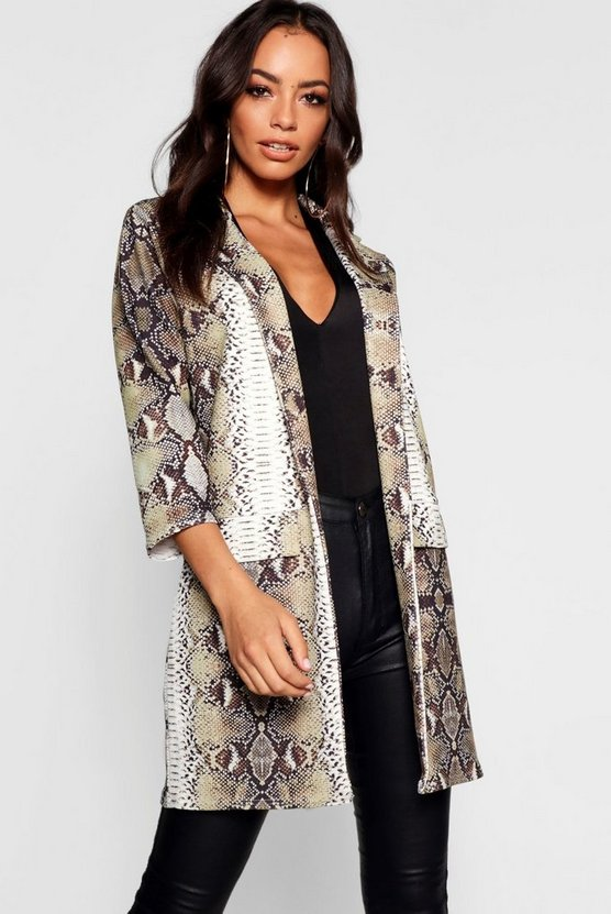 Womens Snake Print Duster Jacket