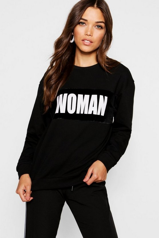 Fit Woman Velour Panel Sweater