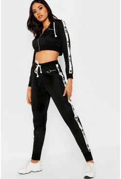 Womens Black Fit Woman Crop Hoody & Jogger Set