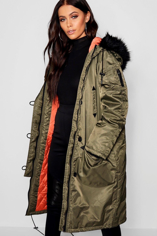 Trim Contrast Parka Faux Lining Longline Fur qPgPtwx
