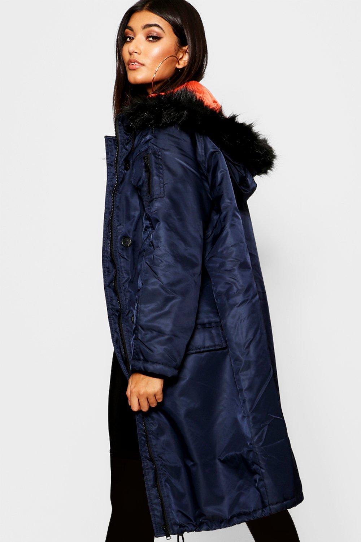 Fur Parka Contrast Faux Lining Longline Trim fBqwWEyp4