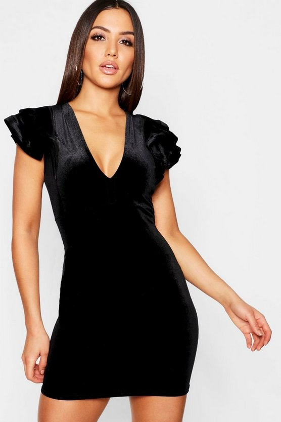 Velvet Plunge Ruffle Detail Bodycon Dress