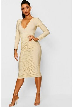 Womens Gold Metallic Ruched Front Midi Dress