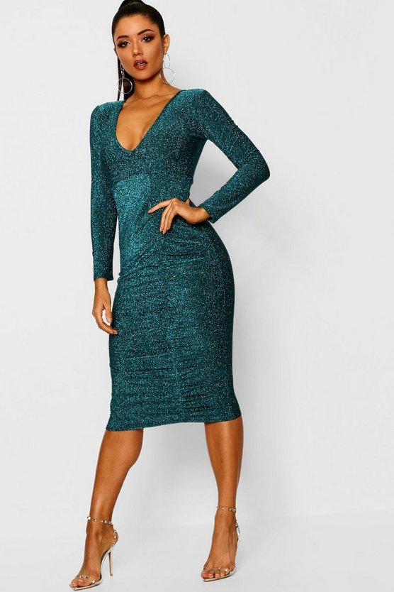 Metallic Ruched Front Midi Dress