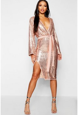 Womens Sequin Kimono Sleeve Midi Dress