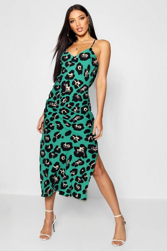 Animal Print Cowl Back Slip Dress