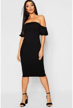 Womens Black Off The Shoulder Puff Sleeve Midi Dress