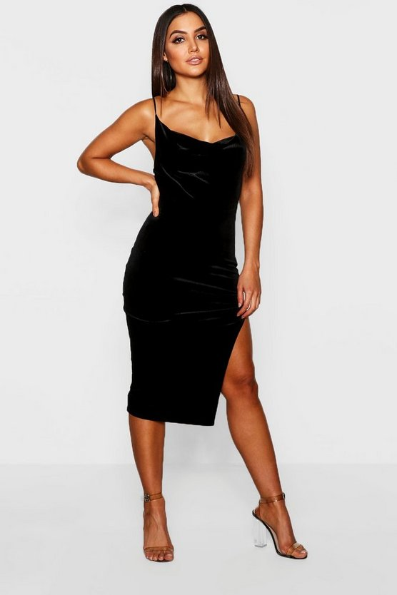 Black Velvet Cowl Neck Midi Dress