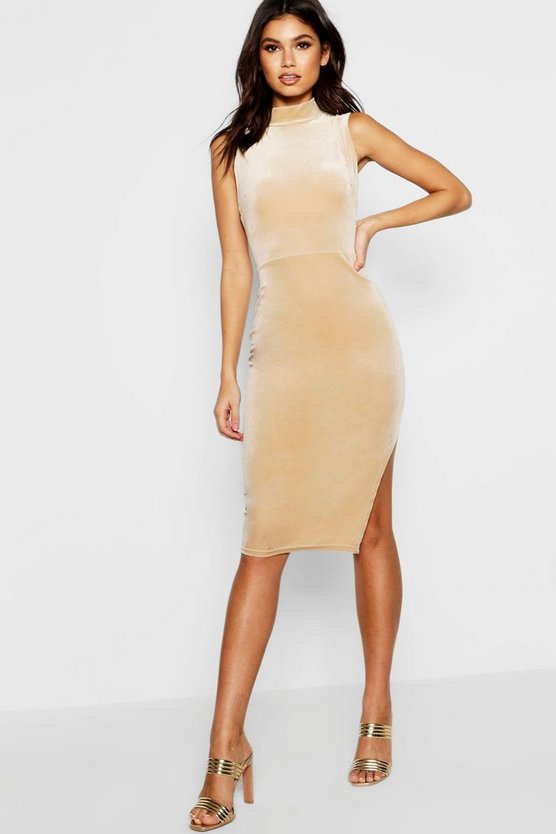 High Neck Velvet Split Midi Bodycon Dress
