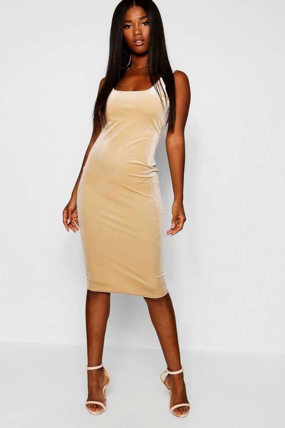 Velvet Scoop Neck Bodycon Midi Dress