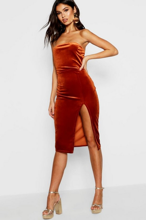 Bandeau Velvet Midi Bodycon Dress