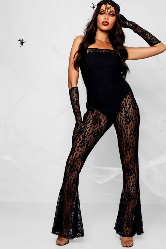 Halloween Strappy Lace Flared Jumpsuit, Black, Donna