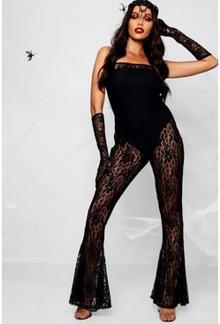 Womens Black Halloween Strappy Lace Flared Jumpsuit
