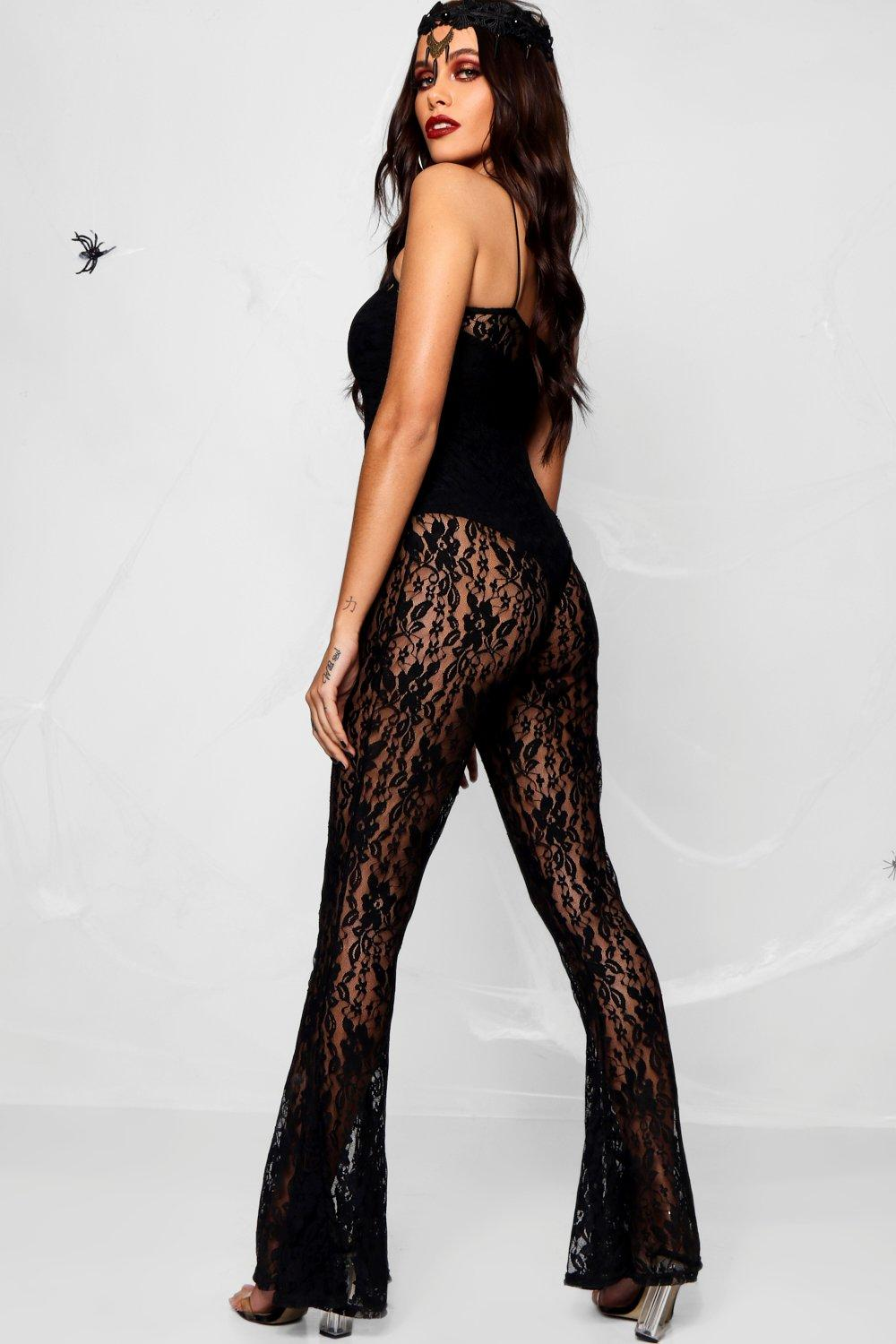 Strappy Jumpsuit Lace black Halloween Flared qRHAa