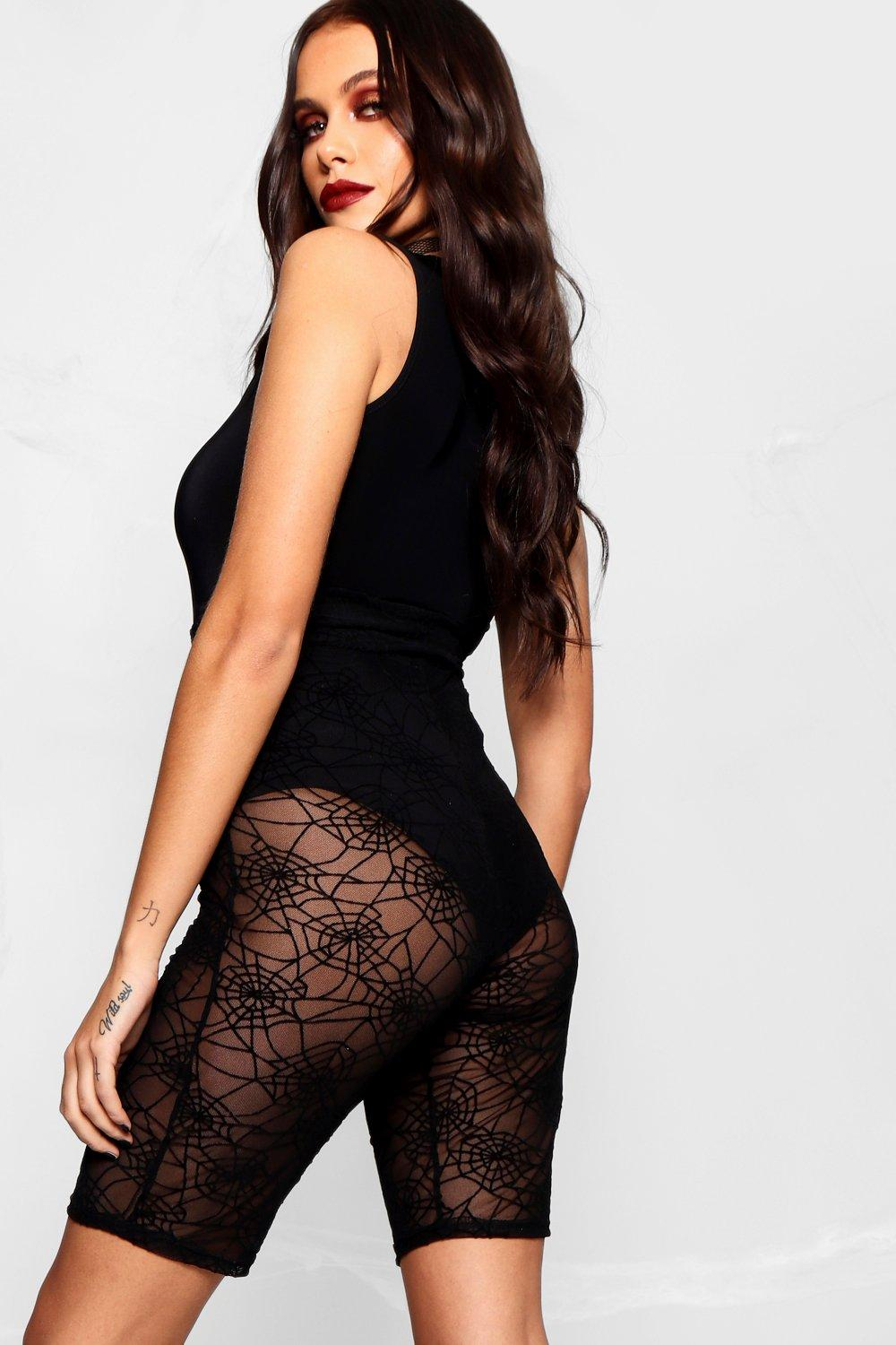 Halloween Short black Web Spider Lace Cycling rTwTOU