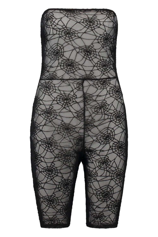 Bandeau Spider Unitard Halloween Web black Lace BdxpwwYqt