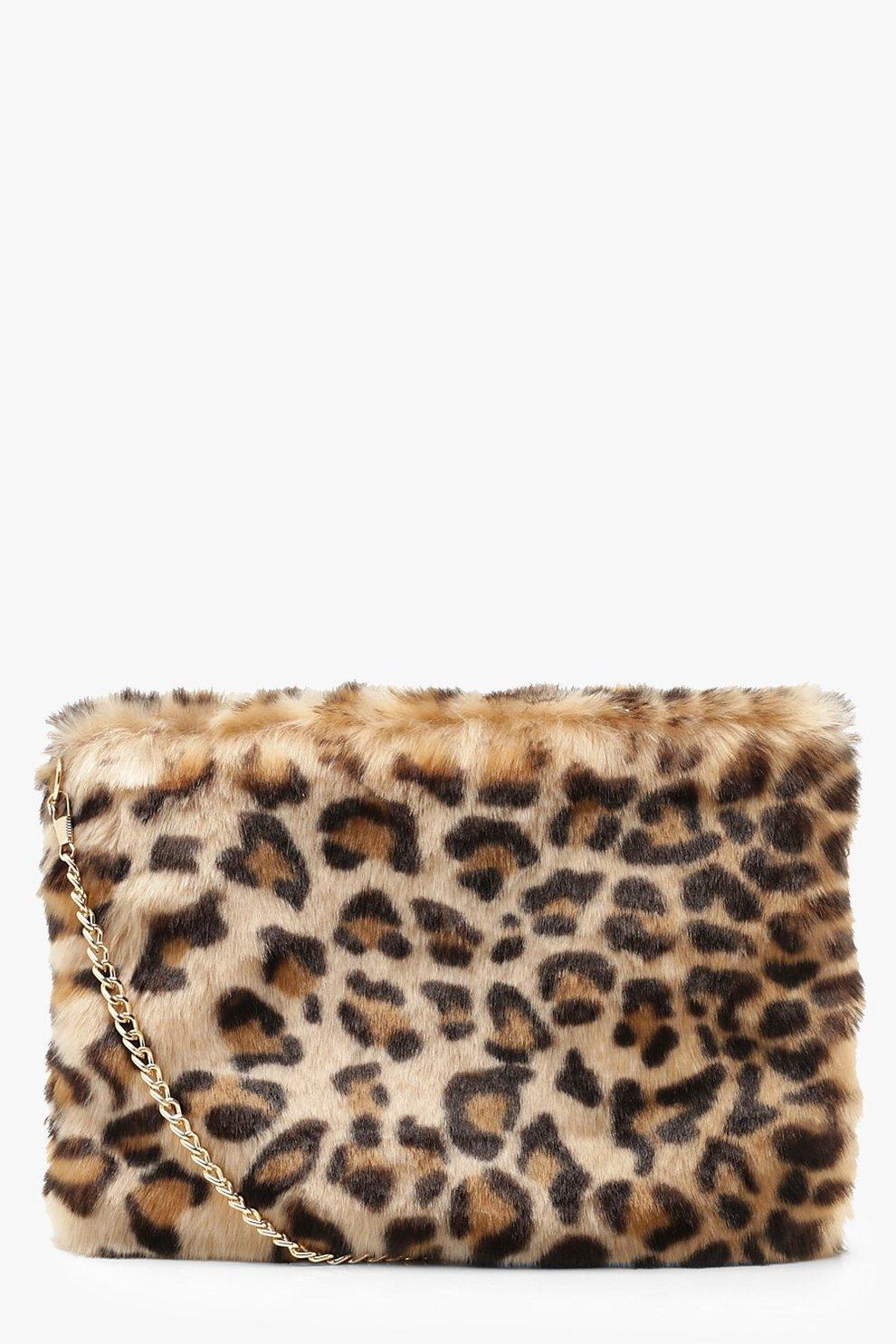 c61d9dc635 Faux Fur Leopard Cross Body Bag