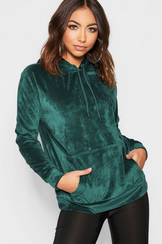Womens Green Velour Hoody